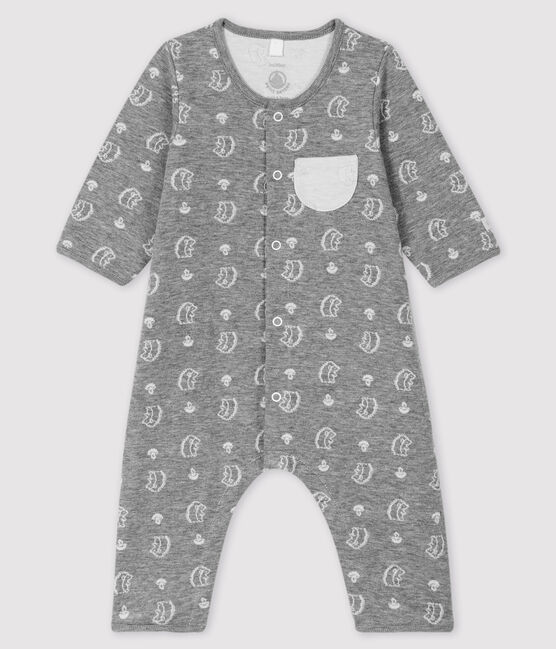 Babies' Patterned Weave Tube Knit Jumpsuit with Hedgehog Print Subway grey / Marshmallow white