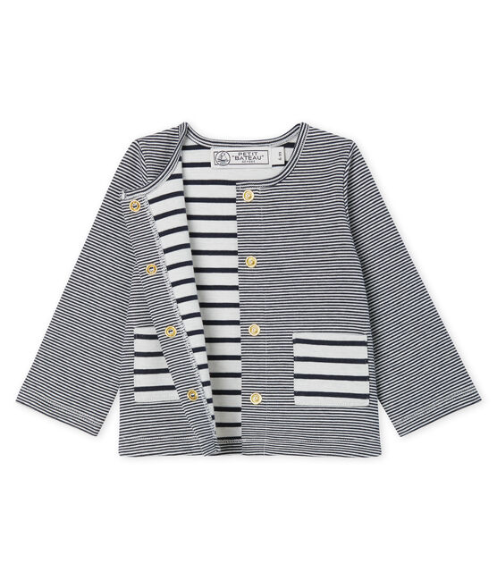 Baby Girls' Striped Knit Cardigan Smoking blue / Marshmallow white