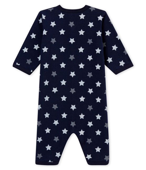 Baby boy's footless sleepsuit Smoking blue / Multico white