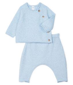 Babies' Clothing in Cotton/Merino Wool/Polyester - 2-Piece Set Toudou blue