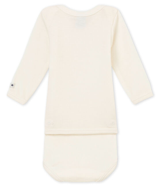 2 in 1 long-sleeved baby bodysuit in wool and cotton Ecru beige