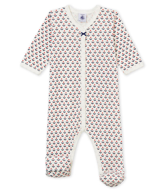 Baby girl's reversible footed sleepsuit Marshmallow white / Multico white