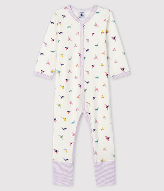 Baby Girls' Ribbed Sleepsuit with Detachable Feet Marshmallow white / Multico white
