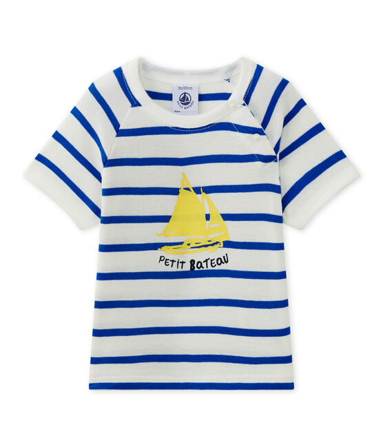 Baby boy's short-sleeved T-shirt Marshmallow white / Perse blue