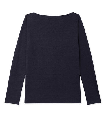 Women's long-sleeved lacquered linen tee