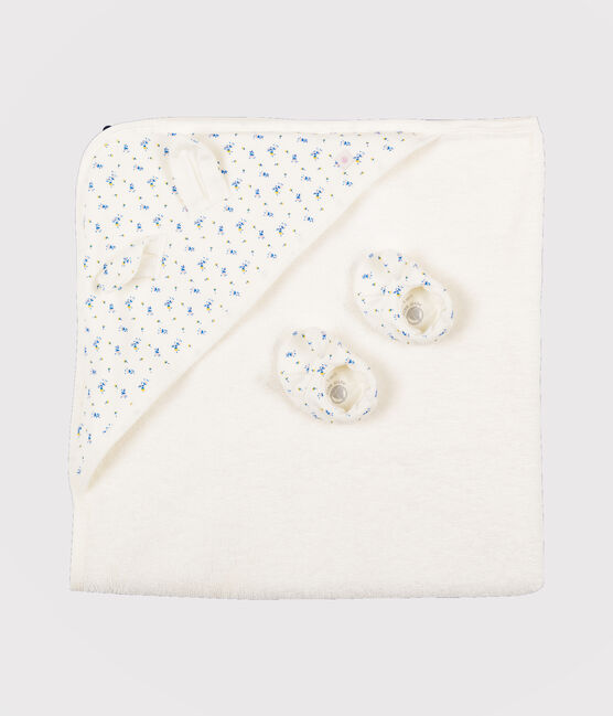 Babies' Square Bath Towel and Bootees Set in Terry and Rib Knit Marshmallow white / Multico white