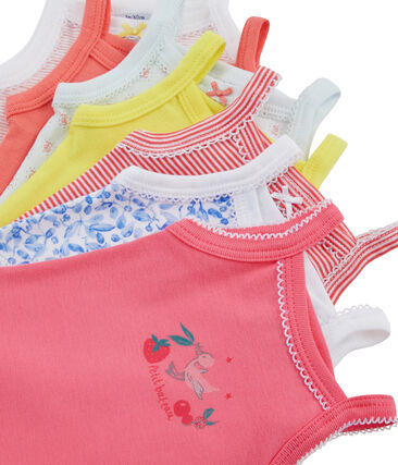 Surprise pack of 7 bodysuits with straps for baby girls
