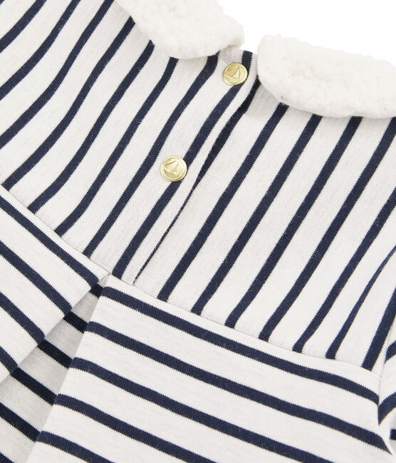 Girl's Long-sleeved Sailor Top Marshmallow white / Smoking blue