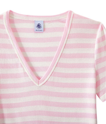 Women's striped original rib V-neck T-shirt Babylone pink / Marshmallow white
