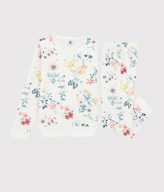 Girls' Floral Velour Pyjamas Marshmallow white / Multico white