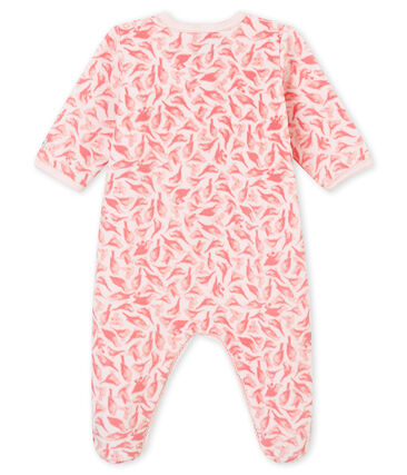 Baby girl's sleepsuit Vienne pink / Multico white