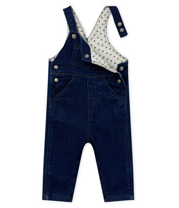 Unisex baby long dungarees in denim look jersey