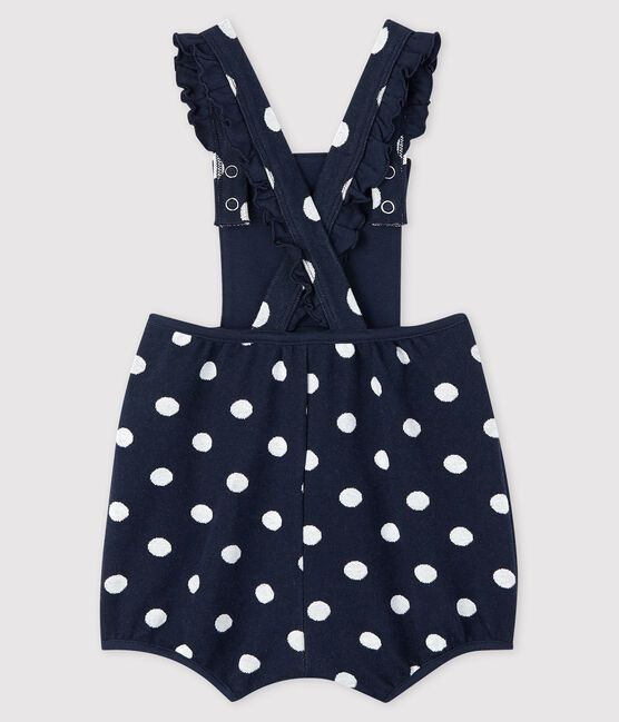 Baby girl's stripy short dungarees Smoking blue / Marshmallow white