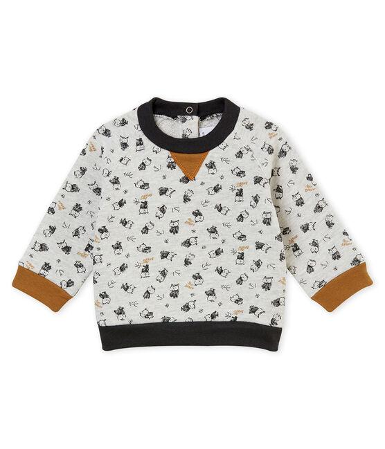 Baby boys' print sweatshirt Beluga grey / Multico white