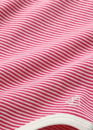 Baby girl's milleraies striped bodysuit Flashy pink / Coquille beige