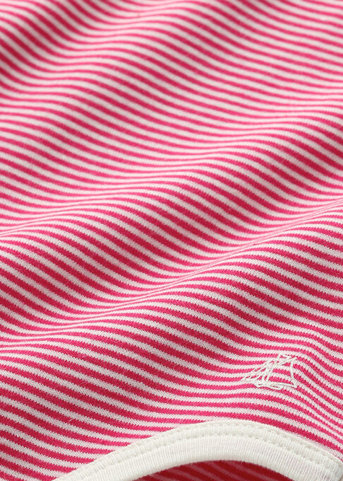 Baby girl's milleraies striped bodysuit Flashy pink / Coquille beige