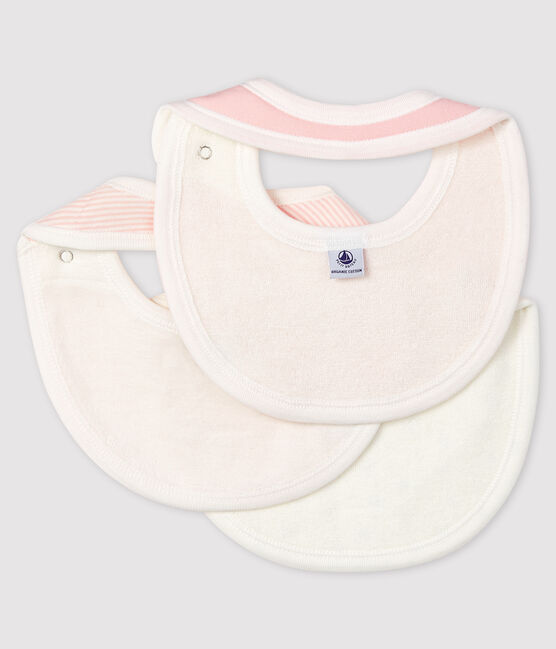 Baby Girls' Ribbed Bibs - 3-Piece Set . set