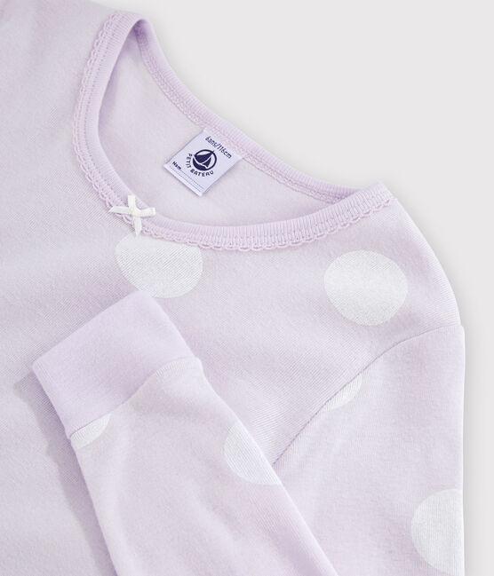Girls' Snugfit Polka Dot Rib Knit Pyjamas Liseron purple / Ecume white
