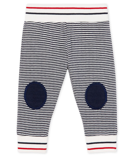 Baby Tube Knit Trousers Smoking blue / Marshmallow white