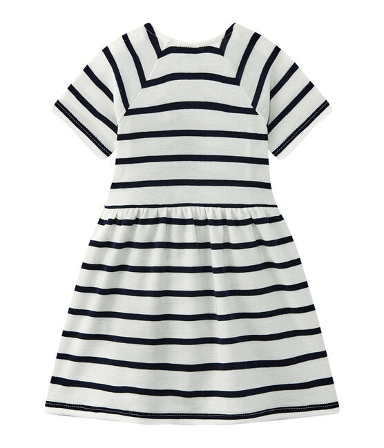 Baby girls' striped dress Marshmallow white / Smoking blue