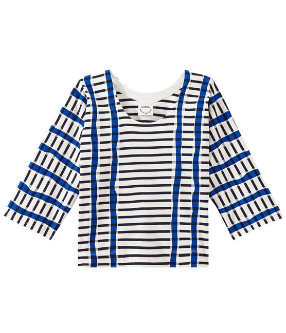 Kimono breton for woman Marshmallow white / Smoking blue