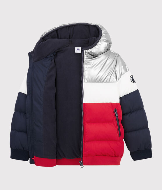 Boys' puffer jacket Smoking blue / Terkuit red