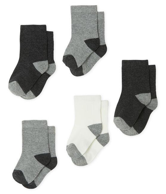 Baby Boys' Basic Socks - 5-Piece Set City Chine grey