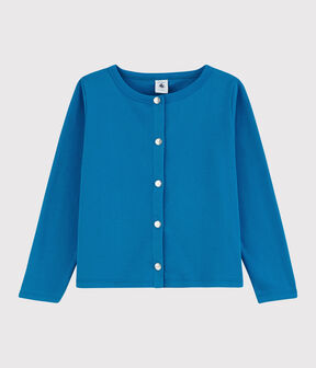 Girls' Cotton Cardigan Mykonos blue