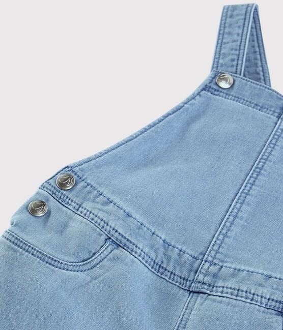 Girls' Denim Fleece Dungarees Denim clair blue