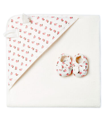 Unisex Babies' Square Bath Towel and Bootees in Terry and Rib Knit