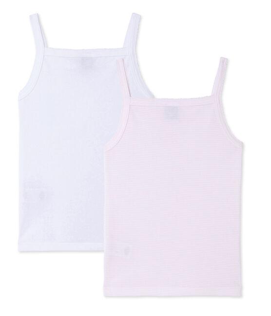 Pack of 2 girl's strap vests . set