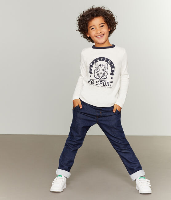 Boys' Long-Sleeved Screen Printed T-shirt Marshmallow white