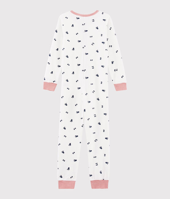 Boys' Jumpsuit in Brushed Terry Marshmallow white / Medieval blue