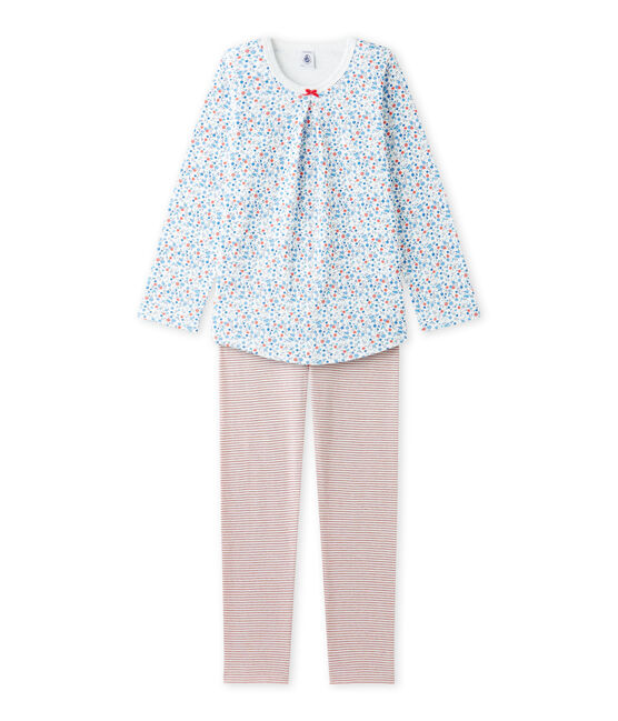 Girl's little flower print pyjamas Lait white / Multico white