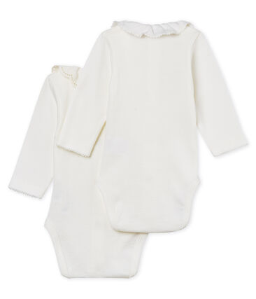 Baby girls' long-sleeved bodysuit with collar - 2-piece set