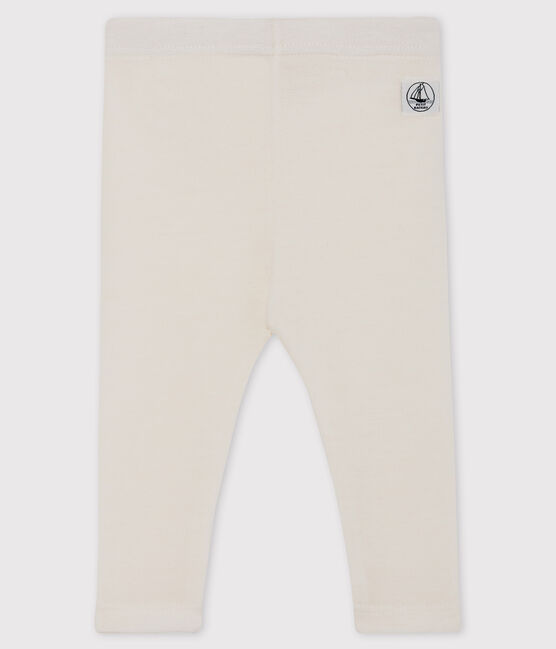 Babies' White Wool and Cotton Leggings Marshmallow white