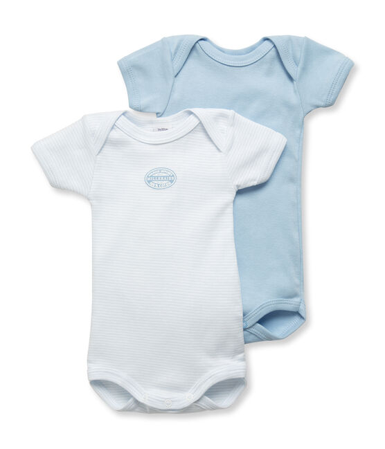 Pack of 2 baby boy short-sleeve plain/milleraies striped bodysuits . set
