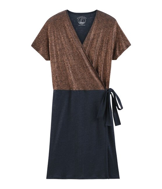 Women's iridescent linen short-sleeved dress Smoking blue / Copper pink