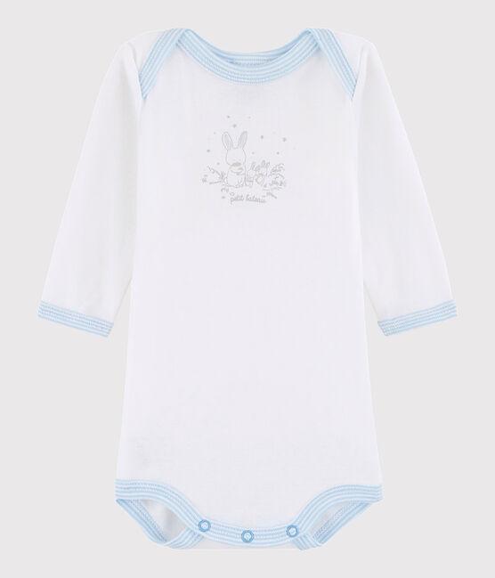 Baby Boys' Long-Sleeved Bodysuit ECUME white /JASMIN blue