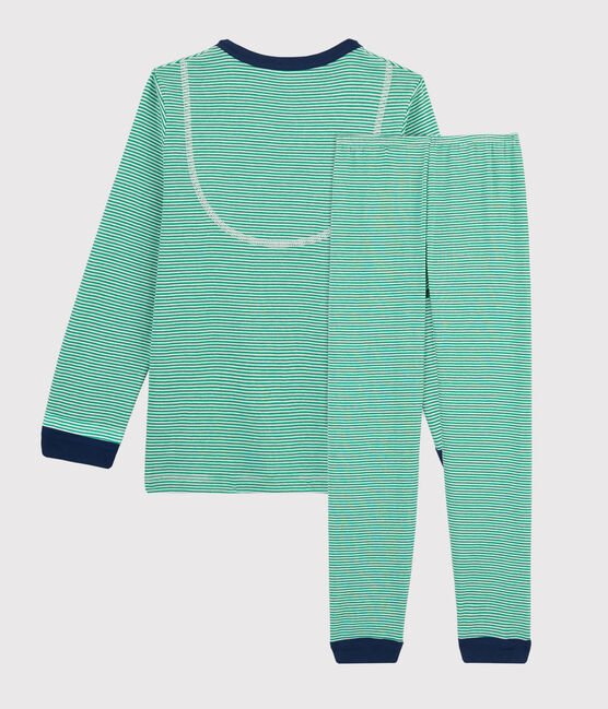 Boys' Green Pinstriped Ribbed Pyjamas Prado green / Marshmallow white