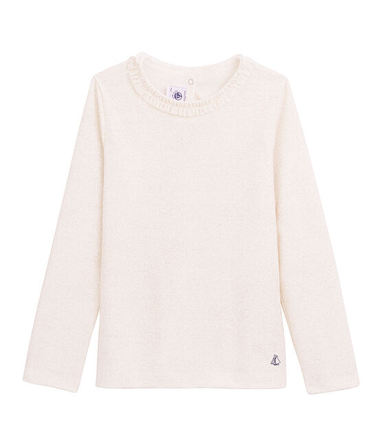Long sleeved milleraies T-shirt Marshmallow white / Copper pink