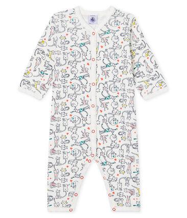 Baby Girls' Footless Ribbed Sleepsuit Marshmallow white / Multico white