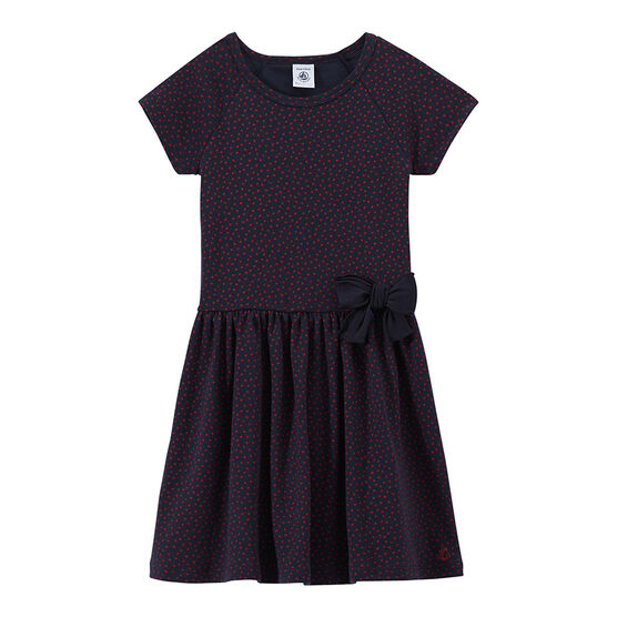 Girls' polka-dot dress Smoking blue / Terkuit red