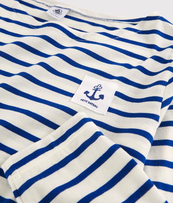"Women's lightweight ""Heart"" Breton dress. Marshmallow white / Surf blue"