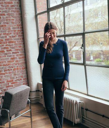 Women's Long-Sleeved Iconic T-Shirt Smoking blue