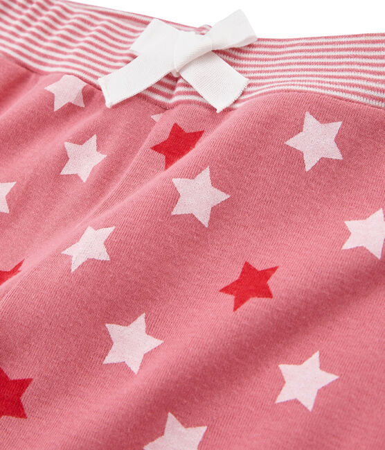 Little girl's pyjama bottoms Cheek pink / Multico white
