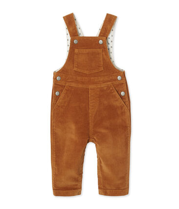 Baby boy's stretch velours overalls Petal pink / Crystal blue