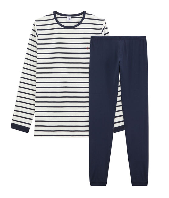 Boys' Ribbed Pyjamas with Sailor Stripes Marshmallow white / Smoking blue