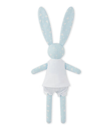 Printed rabbit comfort object Toudou blue / Ecume white