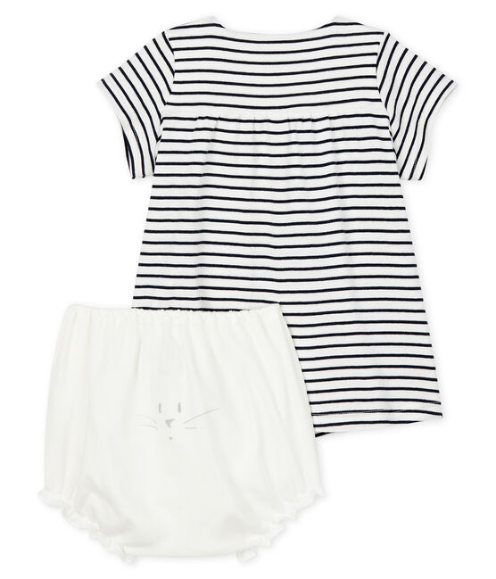 Baby girl's short-sleeved dress with bloomers in cotton. Marshmallow white / Smoking blue